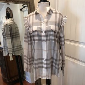 Burberry Brand Button Down Blouse Size 8